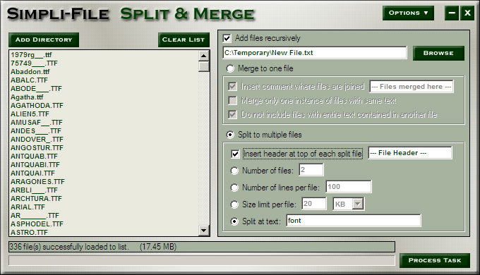 Splits or Merges any number of files based on criteria! Organize your files!